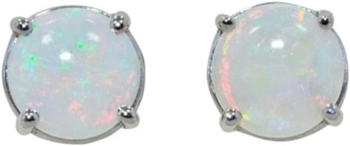 Opal Round Stud Earrings 14Kt White Gold