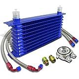 10 row oil cooler - 10-Row 10 An Engine Oil Cooler+Silver M20 Sandwich Cooler Adapter Plate+Hose