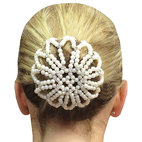 Elastic Handmade Crochet Pearl Hair Snood Net Ballet Bun Hair Covers Ornament Hair Accessories For Women