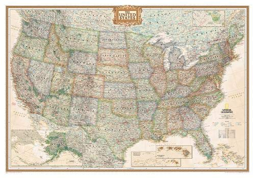 - National Geographic: United States Executive Wall Map - Laminated (43.5 x 30.5 inches) (National Geographic Reference Map)