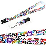 iJDMTOY Graffiti Style JDM Sorted Graphics Lanyard with Key Chain Buckle Features Eat Sleep JDM, Daily Driven, 4Banger, Fresh As Fck, I Love JDM, Low & Slow, etc