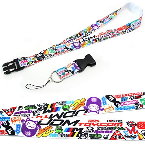 Style Decorative Lanyard - iJDMTOY Graffiti Style JDM Sorted Graphics Lanyard with Key Chain Buckle Features Eat Sleep JDM, Daily Driven, 4Banger, Fresh As Fck, I Love JDM, Low & Slow, etc