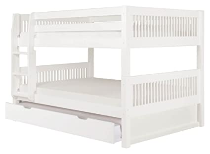 Amazon Com Full Over Full Low Bunk Bed With Twin Trundle In White