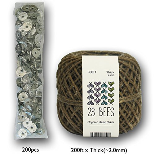 23 Bees 100% Organic Hemp Candle Wick + Wick Sustainer Tabs, 200ft(Thick) x 200pcs by 23 Bees (Image #1)