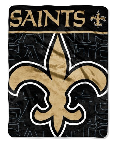 The Northwest Company Officially Licensed NFL New Orleans Saints Livin Large Micro Raschel Throw Blanket, 46