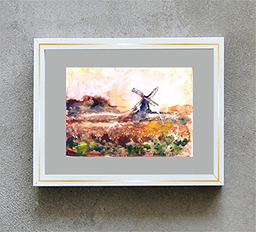 1 0 x 7, Wind mill landscape, watercolor original by Andrejs - Watercolor Windmill