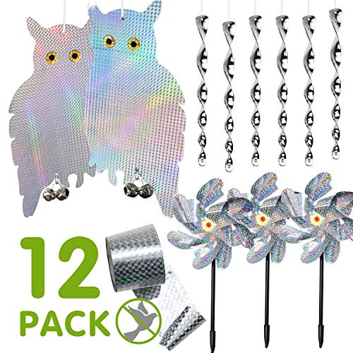 Bird Repellent 12 Pack, Dual-Sided Hanging Bird Deterrent Tape for Bird Control Pinwheels Owl to Scare Birds Away Reflective Bird Spiral Bird Repellent Scare Rods Woodpecker Deterrent for House Window