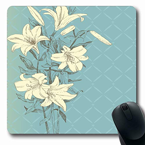 Lilly Branch - Ahawoso Mousepad for Computer Notebook Blue Easter Vintage Lily Flower Nature Drawing Lilly Leaf Branch Outline Sketch Garden Design Oblong Shape 7.9 x 9.5 Inches Non-Slip Gaming Mouse Pad