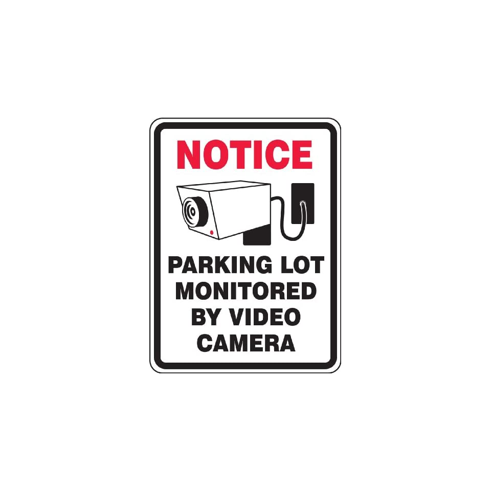 Accuform Signs FRP911RA Engineer Grade Reflective Aluminum Facility Traffic Sign, Legend NOTICE PARKING LOT MONITORED BY VIDEO CAMERA with Graphic, 24 Length x 18 Width x 0.080 Thickness, Red/Black on White