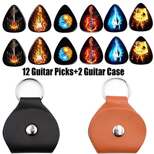 Guitar Picks 0.46 mm 12 Pack ,2 Pack Picks Holder Case - Leather( Flame guitar Series)
