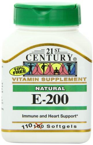 21st Century E 200 I.U. Natural (D-Alpha) Softgels, 110 Count (Pack of 2) (Natural Iu E200)