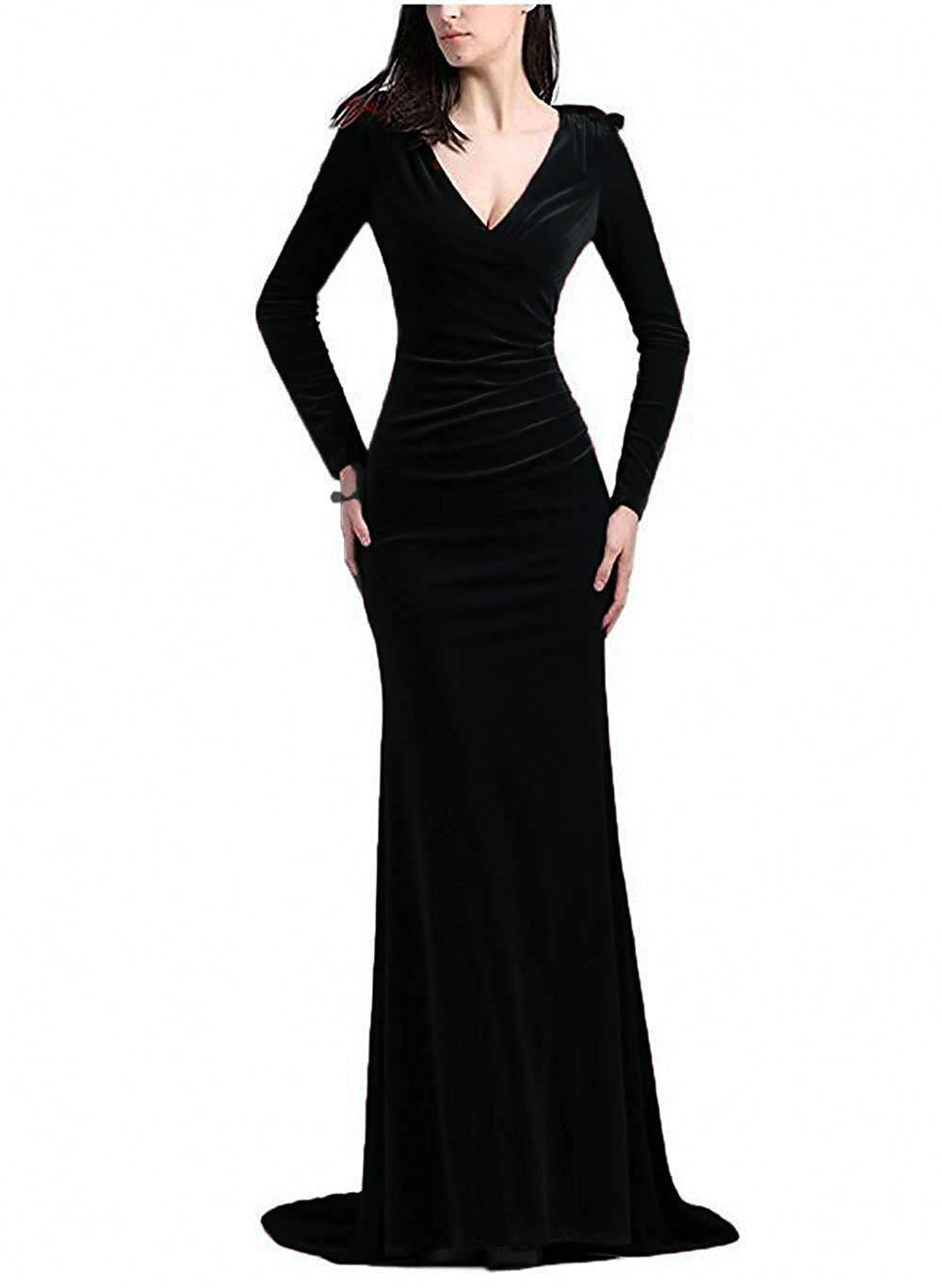 PLMS V Neck Black Prom Gown Mermaid