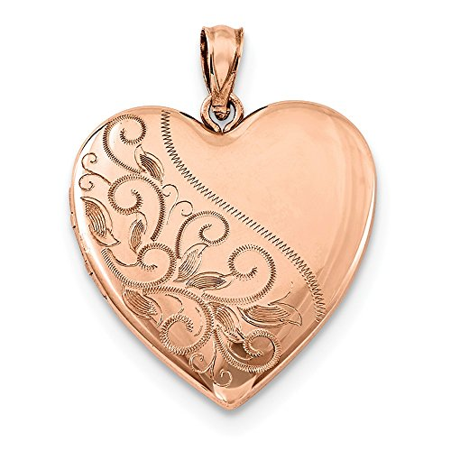 Sterling Silver Rose Gold-plated 24mm Scrolled Heart Family -