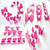 12 units 3D Butterfly Wall Stickers Decor Art Decorations (Pink) Picture