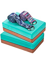 Aiweitey Yoga Blocks 2 Pack with Strap Set, High Density EVA Blocks to Improve Flexibility and Balance