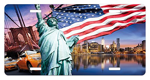 United States License Plate by Ambesonne, USA Touristic Concept Collection Statue of Liberty NYC Cityscape Flag Cars, High Gloss Aluminum Novelty Plate, 5.88 L X 11.88 W Inches, ()