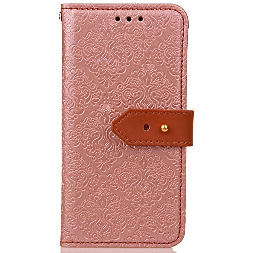 Funda LG K8,SainCat Funda de cuero sintético tipo billetera con de Suave PU Carcasa Con Tapa y Cartera, Correa de mano, Soporte Plegable, Ranuras para Tarjetas y Europeo Fresco Patrón Funda de Flip Ra Oro rosa