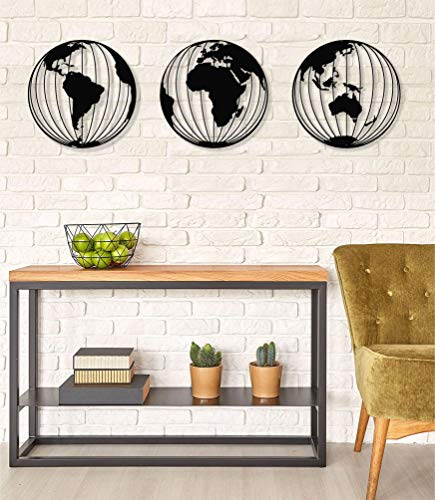 3 Metal World Map Globes, Round Metal World Map Wall Art, Metal Wall Decor, Metal Sign, Interior Design, Metal Weltkarte Mappa Del Mondo