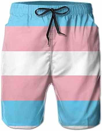 7ec0ac5a07 Men's Printing Transgender Flag Beach Board Shorts Swim Trunks Retro Quick  Dry Boardshorts