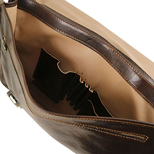 2 Leather Dark Brown Leather Firenze Tuscany Brown compartments briefcase Dark aOwqIxnxg