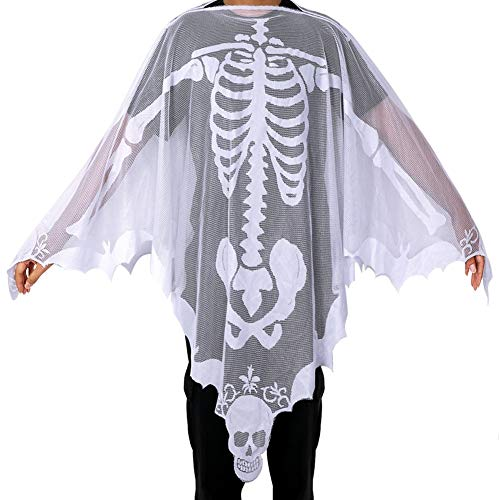 OurWarm Halloween Poncho White Lace Skeleton Poncho for Women, Day of The Dead Costume 60 x 60 ()