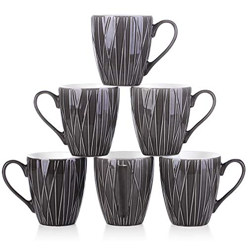 14 Ounce Set - DOWAN Coffee Mugs, 14 Ounces Broad Handle Tea Mugs, Non Slip, Set of 6, Ceramic, Dark Gray