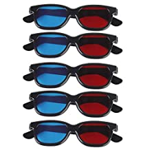 5 Pair Adult Red/Blue 3D Glasses Anaglyph Glasses Black