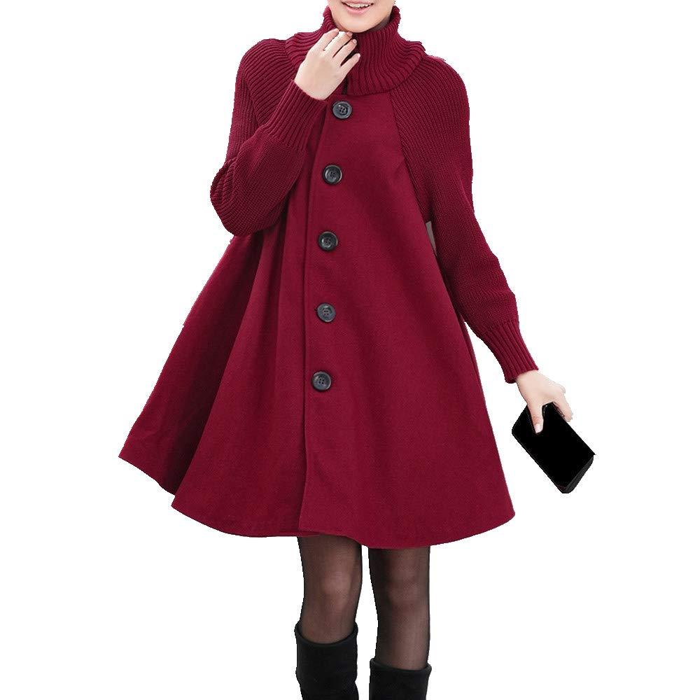 Wugeshangmao Ladies Solid Cardigan Female Button Pockets Parka Outwear Womens Long Woolen Coat
