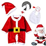 Girls Boys Kids Infant Soft Snowball Holiday Picture Santa Hat Claus Suit Christmas Gift