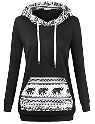 MOOSUNGEEK Women Long Sleeve Patchwork Elepant Paisley Hoodie Sweatshirts with Kangaroo Pocket