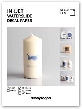 """INKJET waterslide decal paper CLEAR 8.5/"""" x 11/""""  1 sheet"""