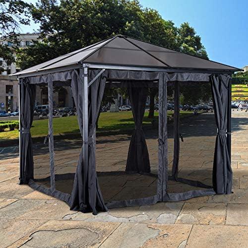 Outsunny – Carpa jardín Carpa (con Laterales PC Techo Aluminio 300 x 300 x 265 cm, Color marrón (Techo), Color Gris Oscuro (Paredes Laterales): Amazon.es: Jardín