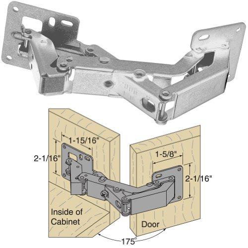 Platte River 937044, Hardware, Hinges, Concealed, 175d Surface Mounted Hinge Nickel Plated (Surface Cabinet Hinge)