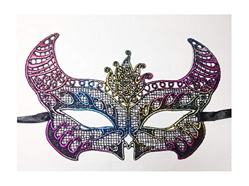 Junson Happy Sexy Elegant Horn Half Face Venetian Masquerade Mask Lace Hollow Mask (Colorful) for -