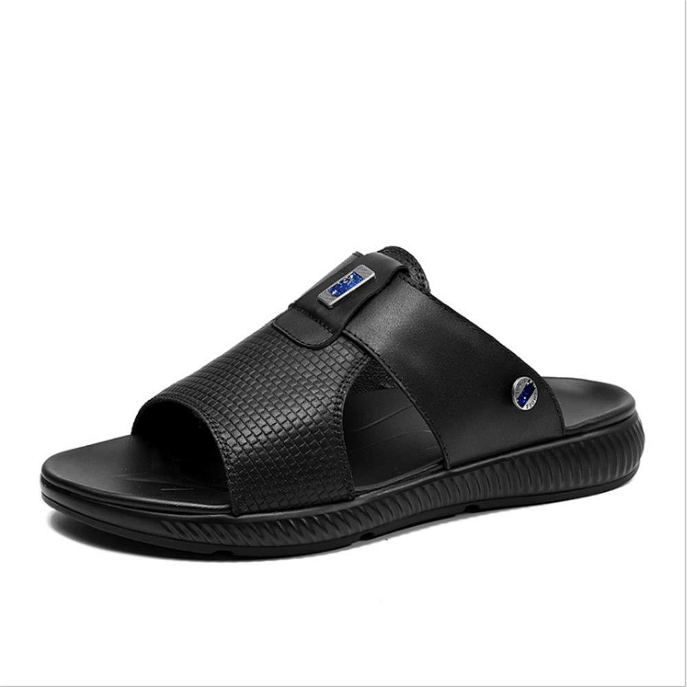 Wangcui Sommer Sports Männliche Sandalen Leder Outdoor Sports Sommer Leichte Strand Schuhe Leder Schwarze Sandalen (24,0-29,0) cm (Farbe : Schwarz, Größe : 43 1/3 EU) Schwarz b5ecf8