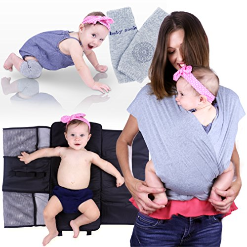 Moms Best Friend Baby Carrier Wrap - Newborn Infant Swaddle Promotes Bonding, Leaning and Hands-Free Productivity - Includes Portable Changing Mat and Protective Knee Pads - Premium Quality