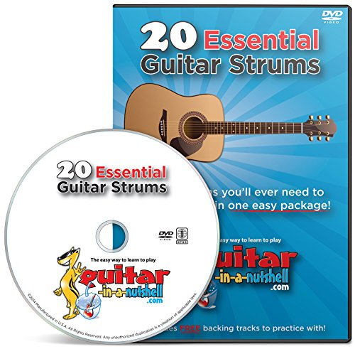 Learn How to Play Guitar Lessons DVD - My Top 20 Essential Strums! - Play 1000's of Songs - Perfect for Beginners - Free Play-along Backing Tracks, Course Book, Acoustic Chord Sheet + Best Money Back Guarantee!