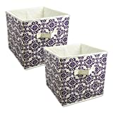 """DII Home Essentials Foldable Fabric Storage Containers for Nurseries, Offices, Closets, Home Décor, Cube Organizers & Everyday Use, 11 x 11 x 11"""", Scroll Eggplant - Set of 2"""