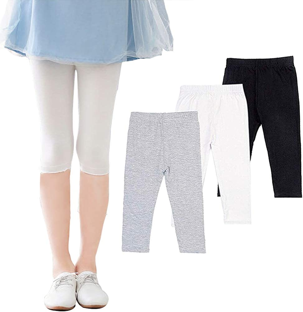 -Multiple Colors-4-5 Years Pack of 8 Indistar Little Girls Cotton Full Ankle Length Solid Leggings