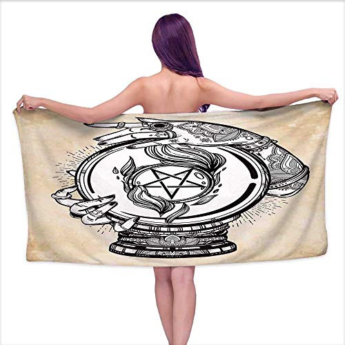 Glifporia Sauna Towel Occult,Illustration of Medium Crystal Ball for Mystery with Tattooed Hands Future Psychic,Tan Black,W28 xL55 for Kids Mickey Mouse (Mickey Crystal Ball)