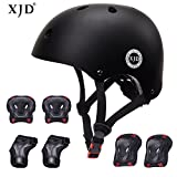 XJD Child Adjustable Sports Protective Gear Set Safety Pad Safeguard (Kids Helmet Knee Elbow Wrist) for Roller Bicycle BMX Bike Skateboard Scooter and Other Extreme Sports Activities(BLACK)