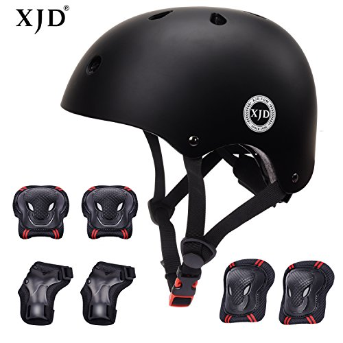 Bmx Gear (XJD Child Adjustable Sports Protective Gear Set Safety Pad Safeguard (Kids Helmet Knee Elbow Wrist) for Roller Bicycle BMX Bike Skateboard Scooter and Other Extreme Sports Activities(BLACK))