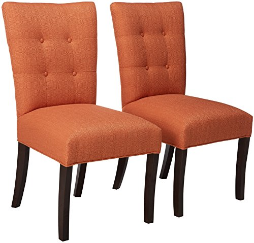 Sole Designs La Mode Collection Fanback Dining Chair, 4 Button Stitched Side Chair, Pumpkin (Set of 2)