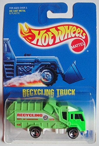 (HOT WHEELS GREEN RECYCLING TRUCK #143 RAZOR WHEEL SQUARE CARD)