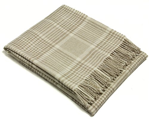 (Wool Throw Blanket by Bronte - Merino Lambswool - Prince of Wales Check (Beige))