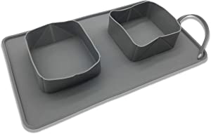 JL&LOVE Collapsible Pet Double Bowls, Portable Non-Skid Silicone Food Water Feeder, Roll-up Dog Cat Feeding Dish with Suction Mat, for Home and Outdoor Travel-Grey