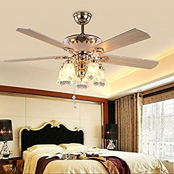 Andersonlight Art Deco Ceiling Fan Remote Control With 5 Wood Blades 5 Glass Flower Shades