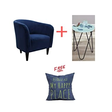 Mainstays Microfiber Tub Accent Chair in Navy Blue Finish with Accent Table Included and with Free!