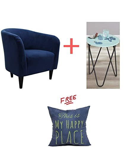 Merveilleux Amazon.com: Mainstays Microfiber Tub Accent Chair In Navy Blue Finish With  Accent Table Included And With Free!: Kitchen U0026 Dining
