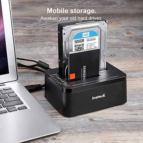 Inateck USB 3.0 to SATA Dual-Bay USB 3.0 Hard Drive Docking Station with Offline Clone Function for 2.5''/3.5'' HDD SSD SATA (SATA I/II/III), Support 2 x 8TB and UASP, Black (FD2002) by Inateck (Image #5)